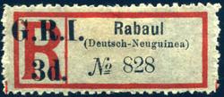 170: Deutsche Kolonien Neuguinea Britische Besetzung - Einschreibemarken