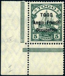 245: Deutsche Kolonien Togo Britische Besetzung - Bogenränder / Ecken