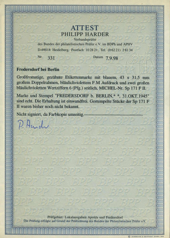 Philasearch.com - Deutsche Lokalausgabe Fredersdorf, Michel Sp 171 F II