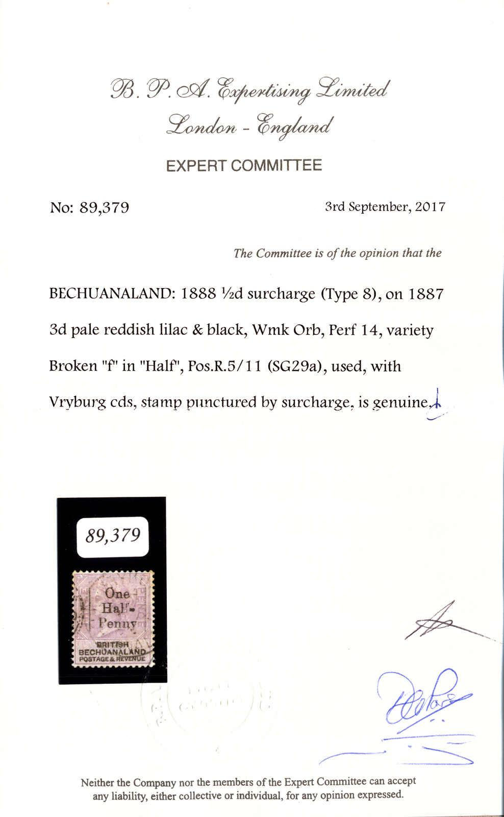 Lot 20756 - south africa bechuanaland -  classicphil GmbH 3 rd classicphil Auction - VIENNA- AUSTRIA