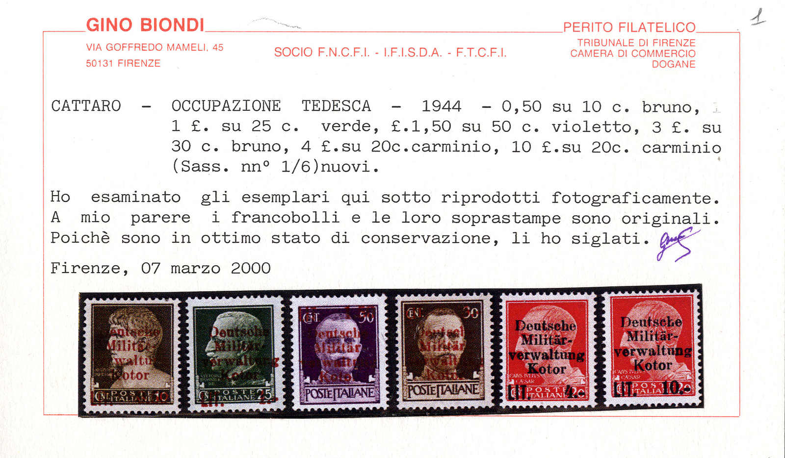 Lot 3052 - germany German Occupation II. Worldwar Kotor -  Viennafil Auktionen 63rd LIVE AUCTION