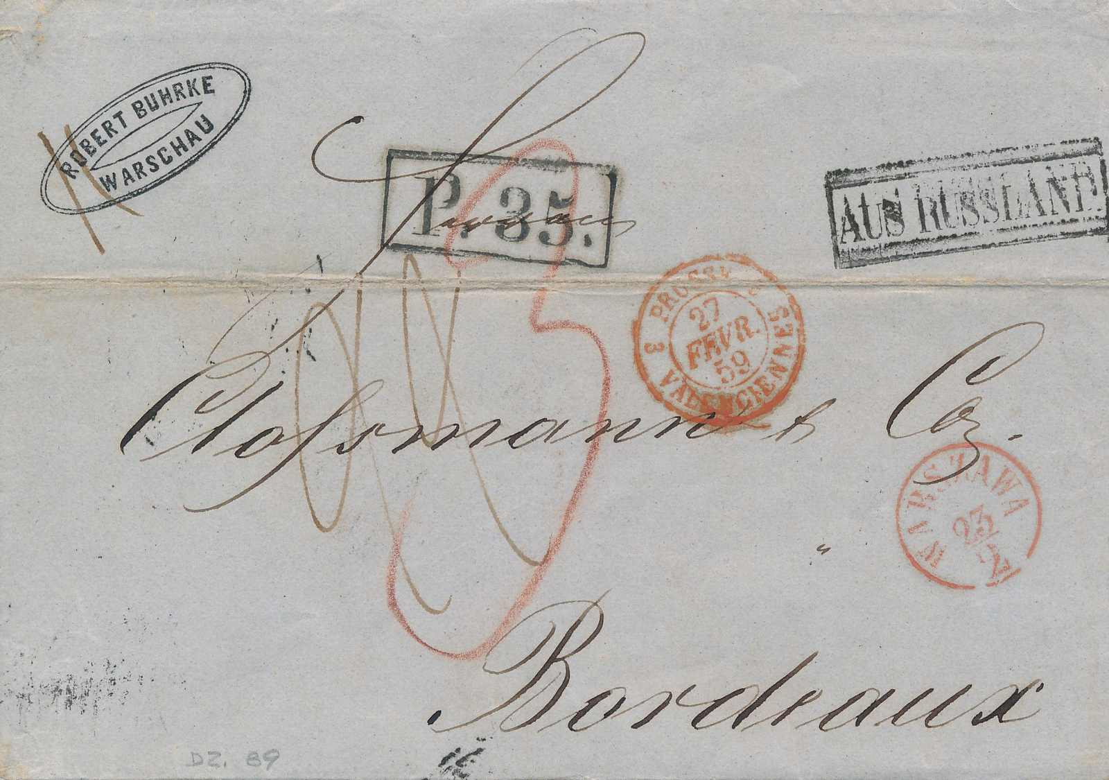 Lot 3369 - europe russia imperial pre-stamp postal history -  Viennafil Auktionen Auction #66 Worldwide Mail Auction: Italy, Austria, Germany, Europe and Overseas