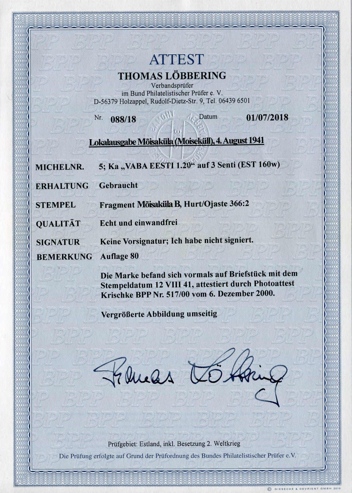 Lot 6800 - Deutsches Reich Deutsche Besetz.II.WK Estonia Moiseküll -  Auktionshaus Schlegel 26 Public Auction