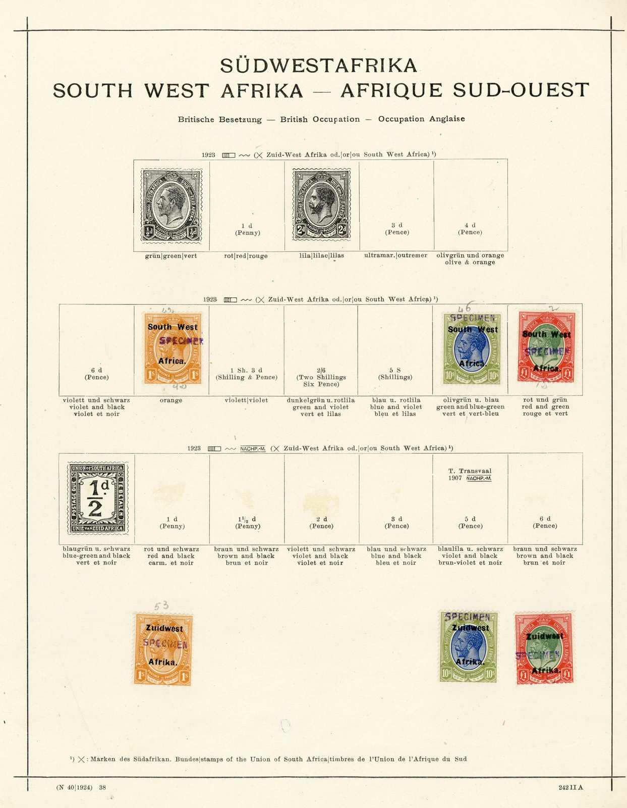 Lot 3033 - COLLECTIONS & ACCUMULATIONS south west africa -  Auktionshaus Schlegel 26 Public Auction