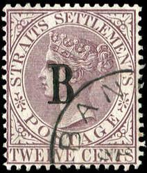 4245: Malaiische Staaten Straits Settlements Post in Bangkok - Sammlungen