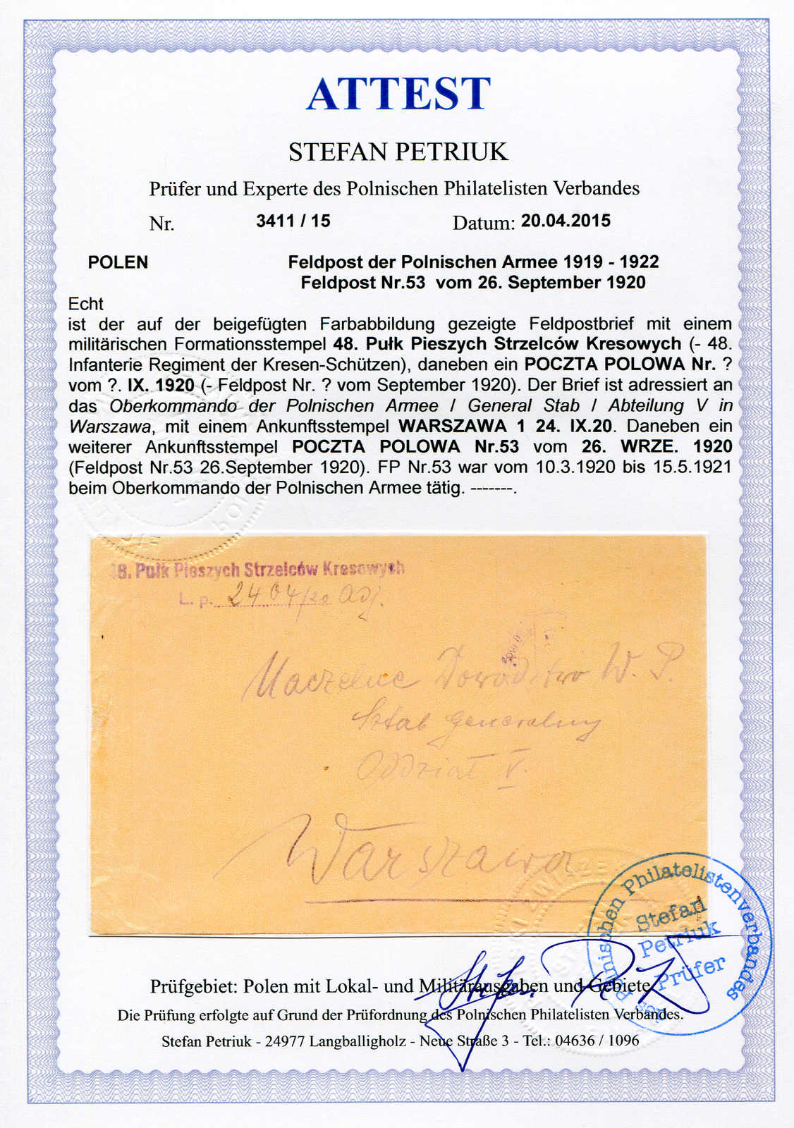 Lot 5133 - Europe A-Z Poland, Field Post -  Auktionshaus Schlegel 26 Public Auction