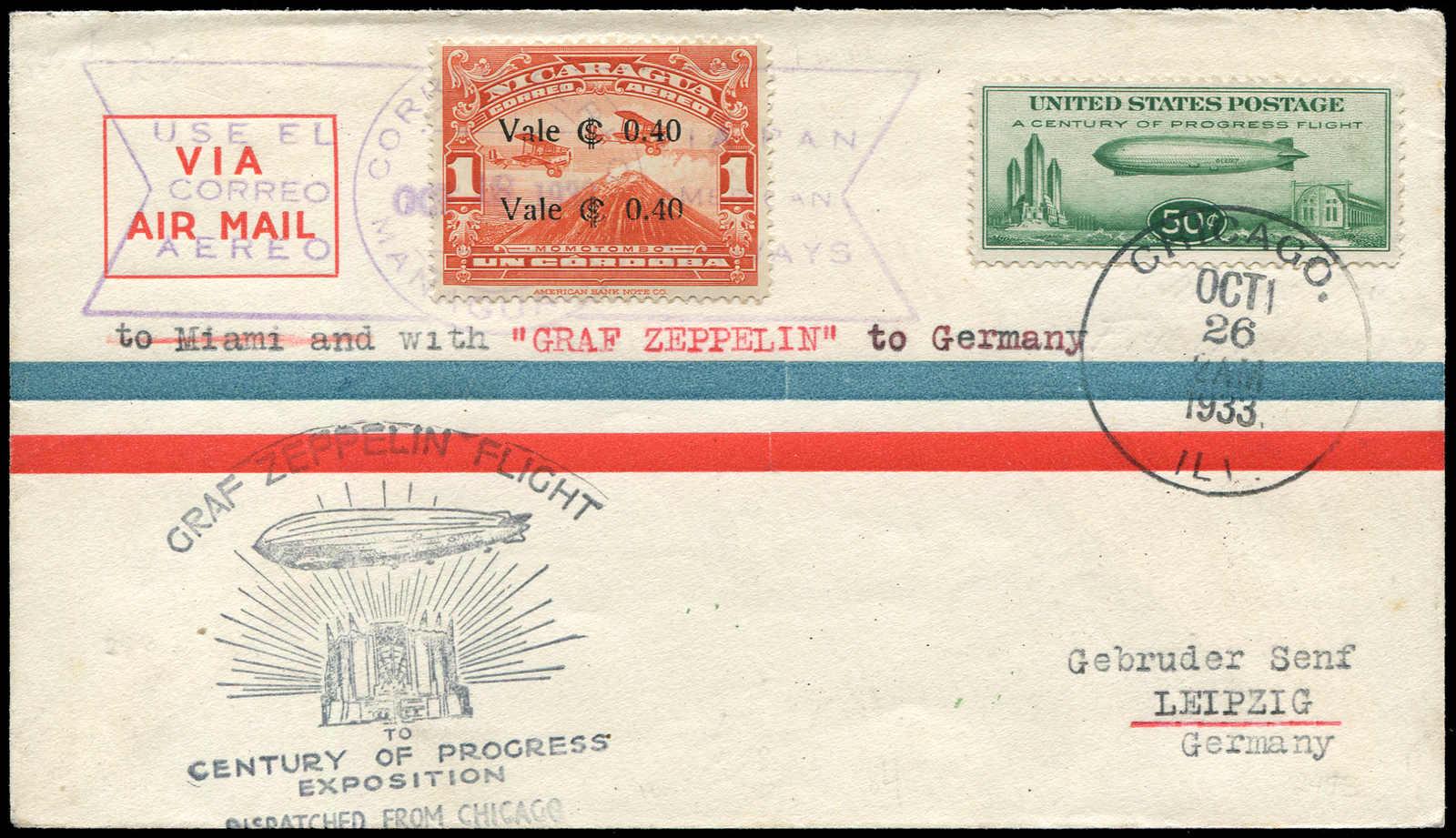Lot 9137 - Zeppelin/Air Mail Zeppelin, Zeppelinpost LZ 127, Chicagofahrt -  Auktionshaus Schlegel 26 Public Auction