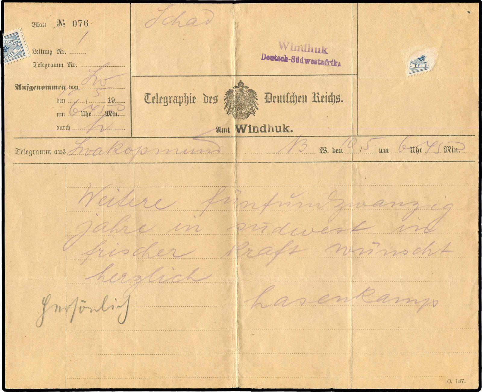 Lot 6396 - Deutsches Reich Deutsche Kolonien South West Africa, Telegramme -  Auktionshaus Schlegel 26 Public Auction