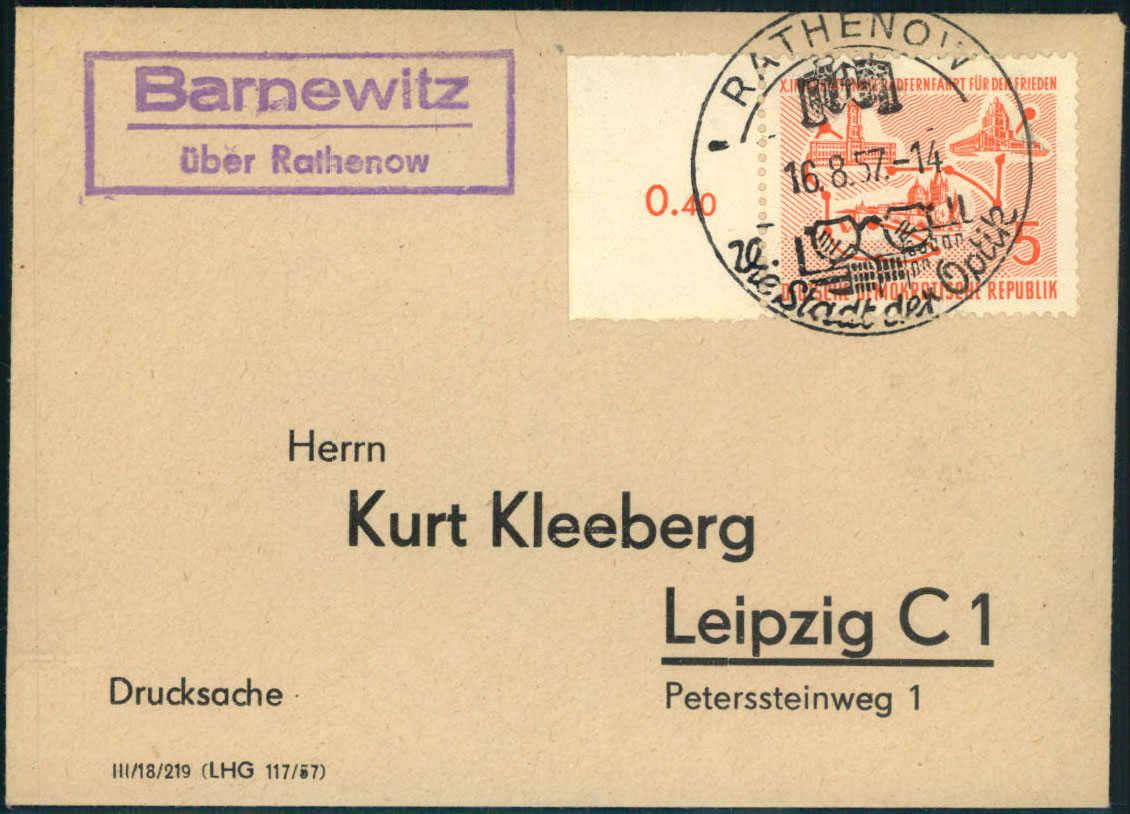 Philasearchcom Deutschland Ost Plz Gebiet O 18 183 Rathenow