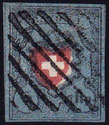 5655096: スイス・ラヨン切手・I型・暗い青色、枠なし