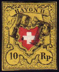 5655101: スイス・ラヨン切手・II型・黄色、枠なし、A2型印刷版