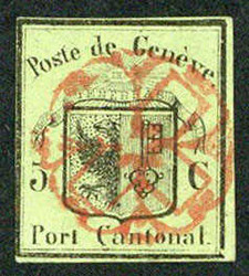 5645: Switzerland Canton Genf - Cancellations and seals