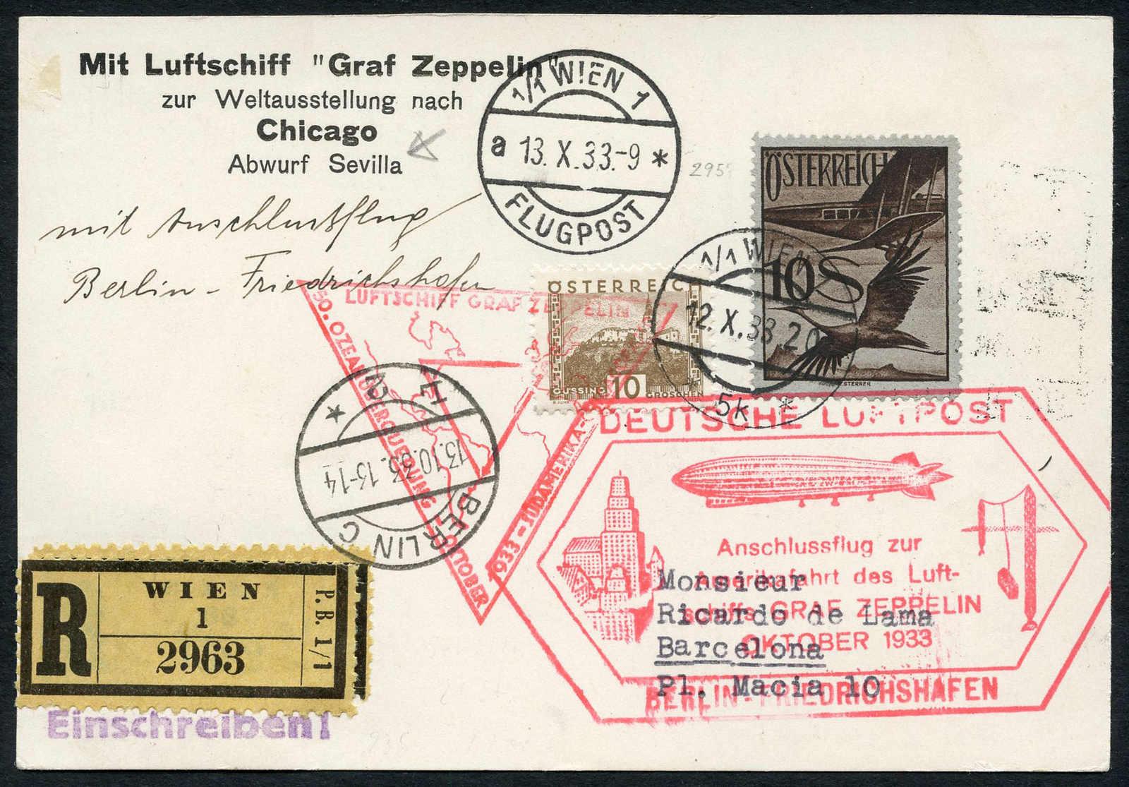 Lot 730 - sammlungen und posten sammlungen und posten zeppelin und luftpost -  Schwarzenbach Auktion Zurich 67th Auction - Session II