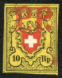 5655103: Rayon II, Yellow, without KE (STONE B) - Cancellations and seals