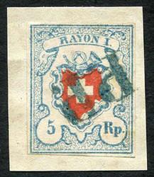 5655114: Rayon I, light-blue, without KE (STONE B1) - Cancellations and seals