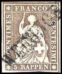 5655132: Strubel B1/B 1st Berner Printing - Cancellations and seals