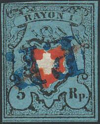 5655096: Rayon I, dunkelblau ohne Kreuzeinfassung - Stempel