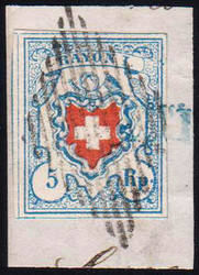 5655120: スイス・ラヨン切手・I型・暗い青色、枠なし