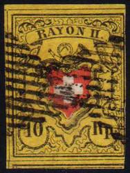 5655108: スイス・ラヨン切手・II型・黄色、枠なし