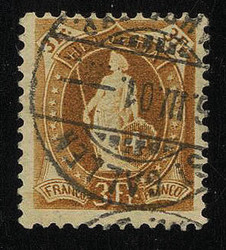 5655146: Switzerland sitting Helvetia perforated - Cancellations and seals
