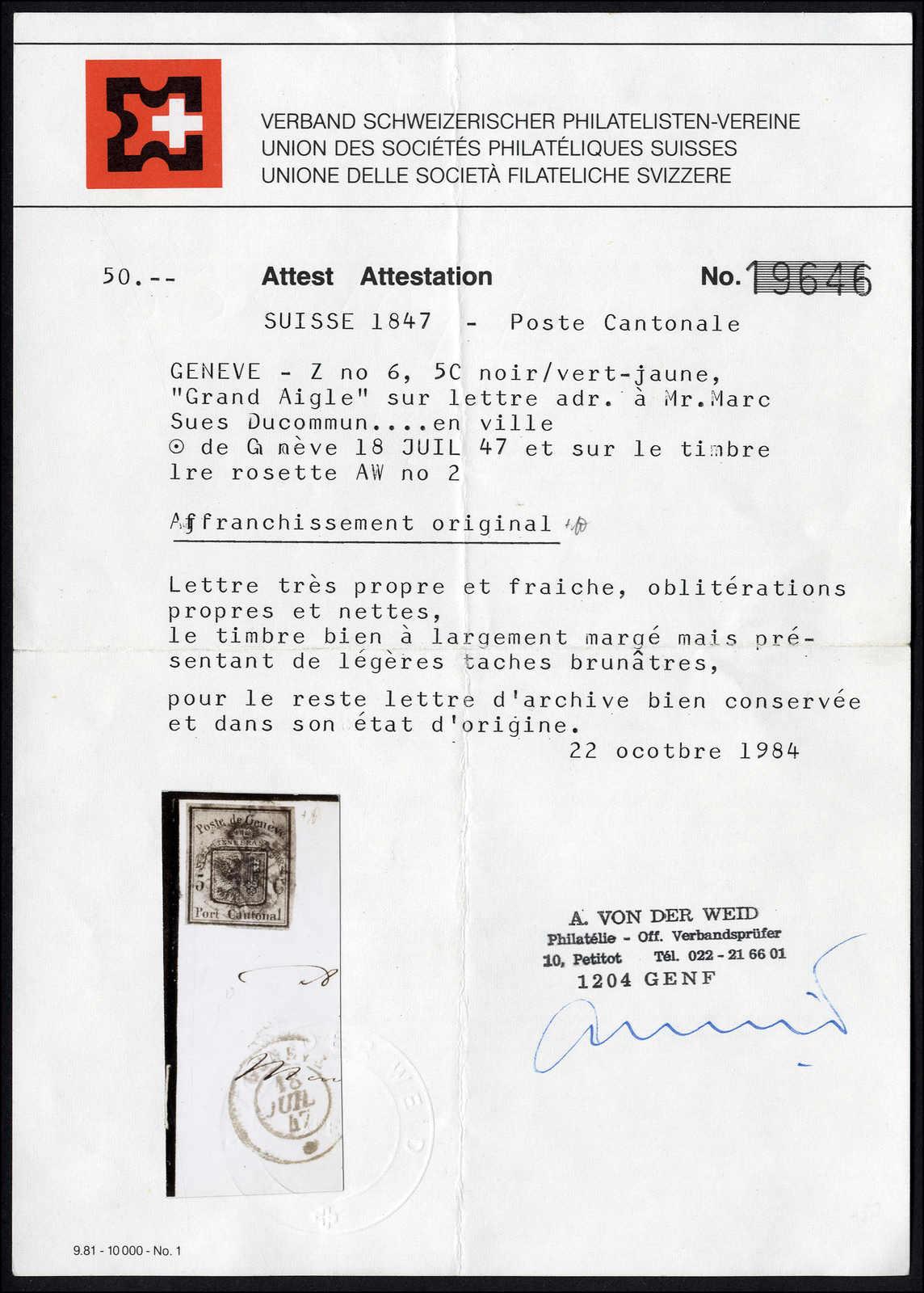 Lot 1008 - schweiz schweiz kantone genf -  Rolli Auctions Auction #68 Day 2