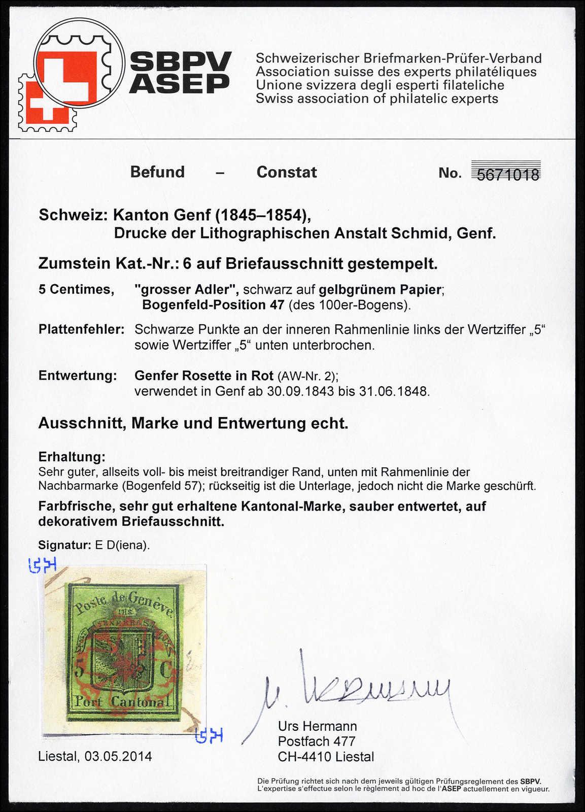 Lot 1006 - schweiz schweiz kantone genf -  Rolli Auctions Auction #68 Day 2