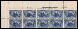 6605065: USA 1893 Kolumbus Ausgabe - Einheit mit Plattennummer