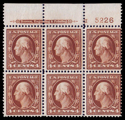 6605090: USA 1908-15 Washington-Franklin Ausgabe - Einheit mit Plattennummer