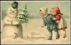202032: Ansichtskarten, Glückwunsch, Schneemänner